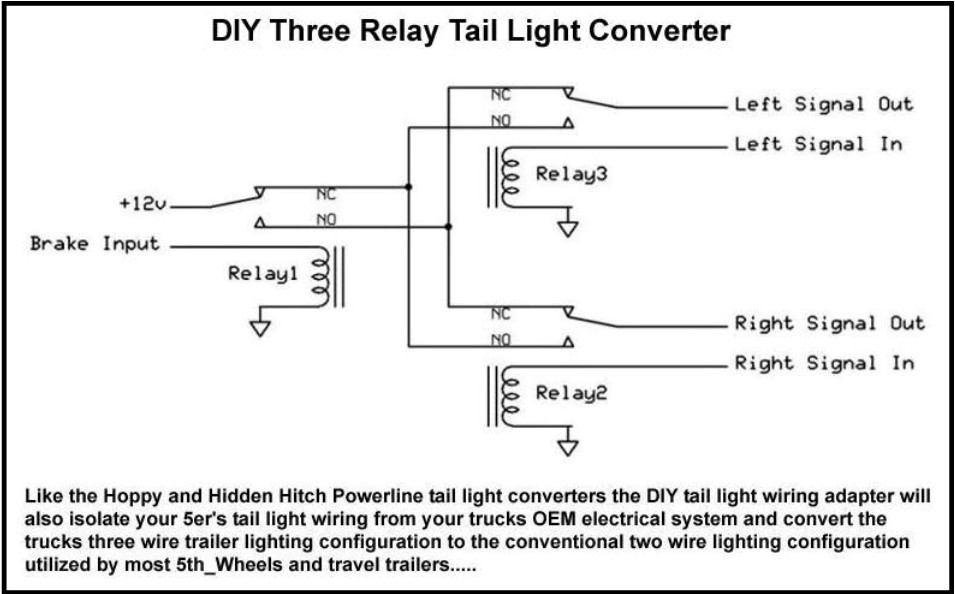 threerelay tail light converters heavy haulers rv resource guide Camper Trailer Wiring Diagram at bakdesigns.co